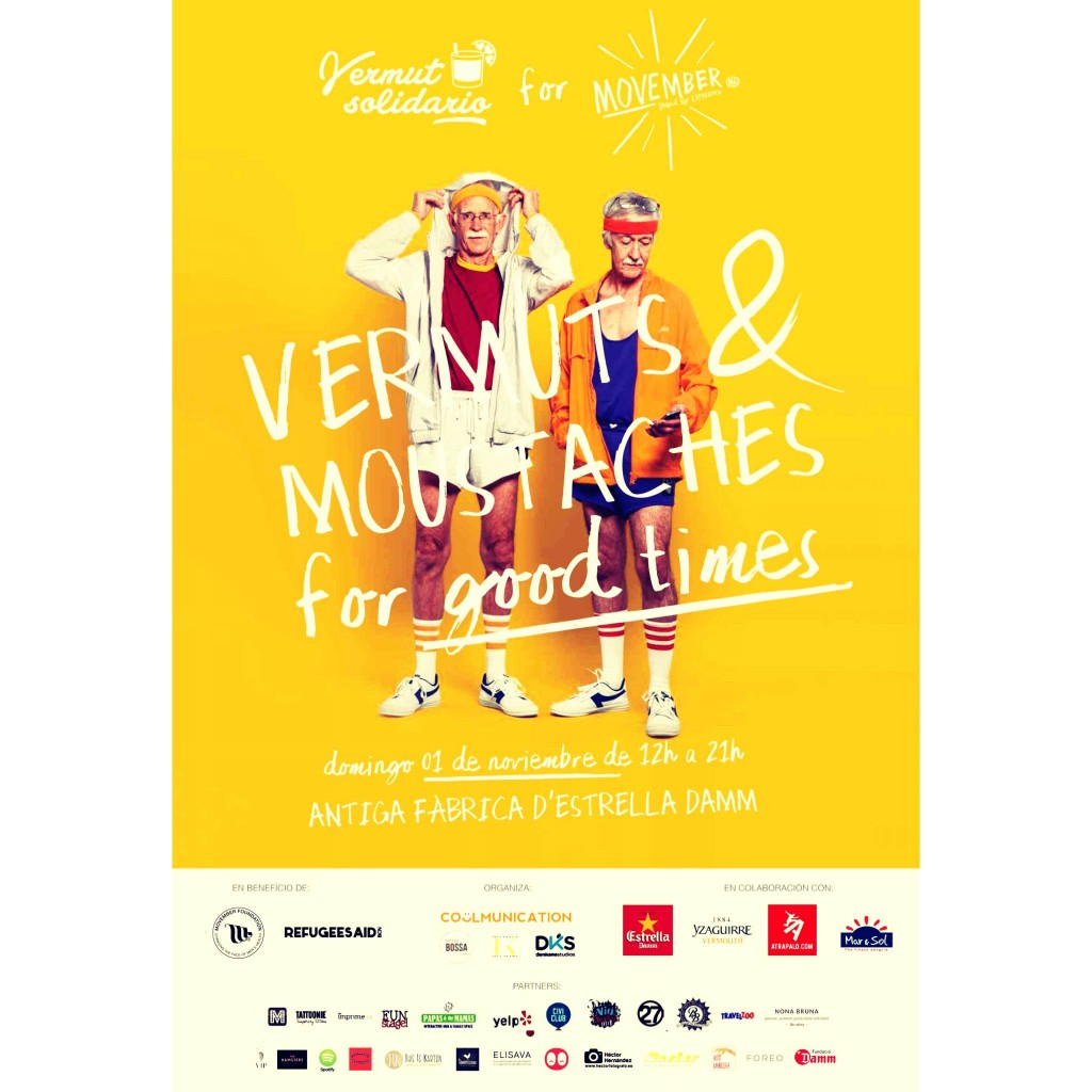 Este domingo 1 de noviembre de 12 a 21h la Antigua Fàbrica d'Estrella Damm abre sus puertas para una nueva nueva edición de Vermut Solidario for Movember.