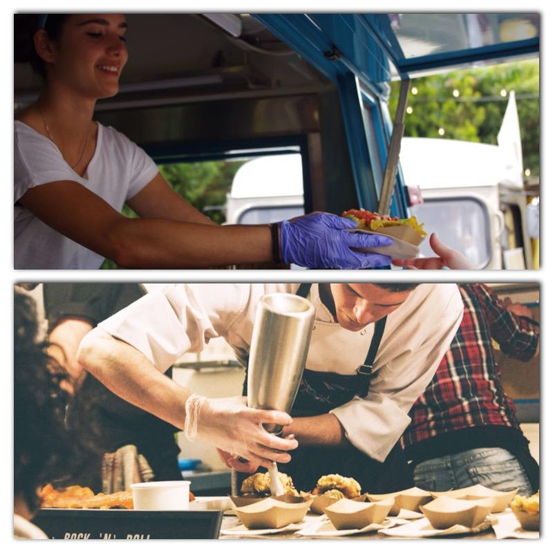 El uso de guantes en los food trucks es indispensable para la manipulación de alimentos a pesar de que el cocinero pierda el contacto con el producto que trabaja